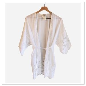 In Bloom By Jonquil White Eyelet Robe Nightgown M